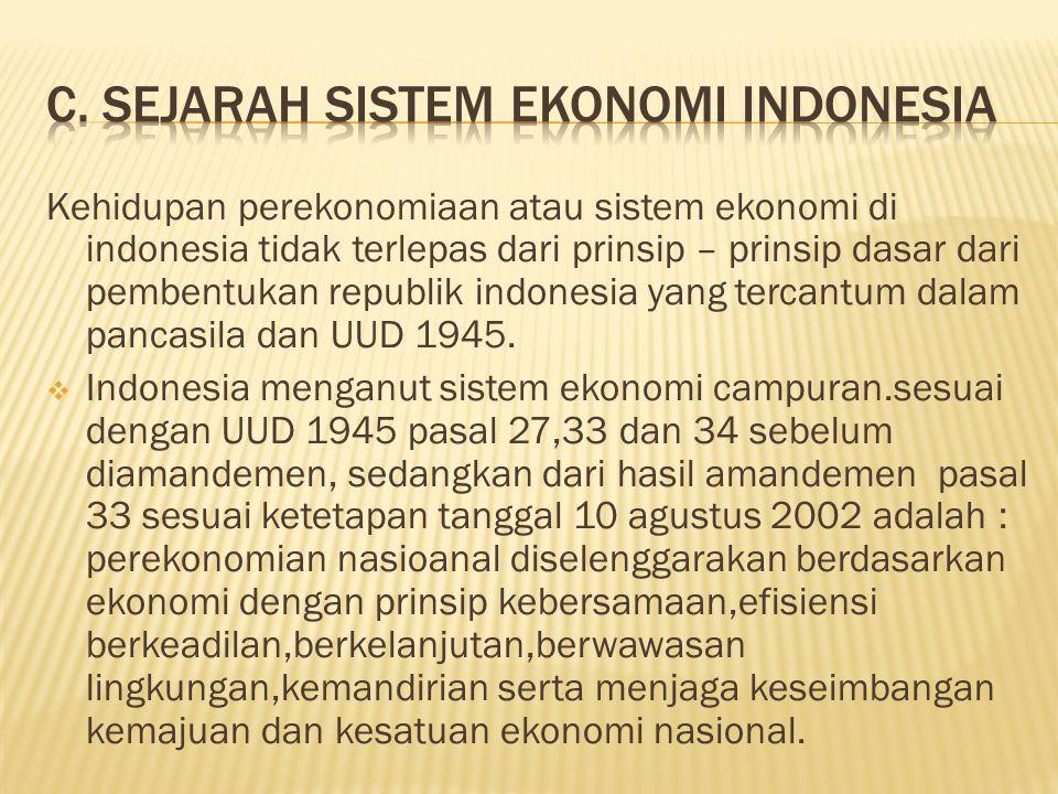 Kehidupan perekonomiaan atau sistem ekonomi di indonesia tidak terlepas dari prinsip – prinsip dasar dari pembentukan republik indonesia yang tercantum dalam pancasila dan UUD 1945.