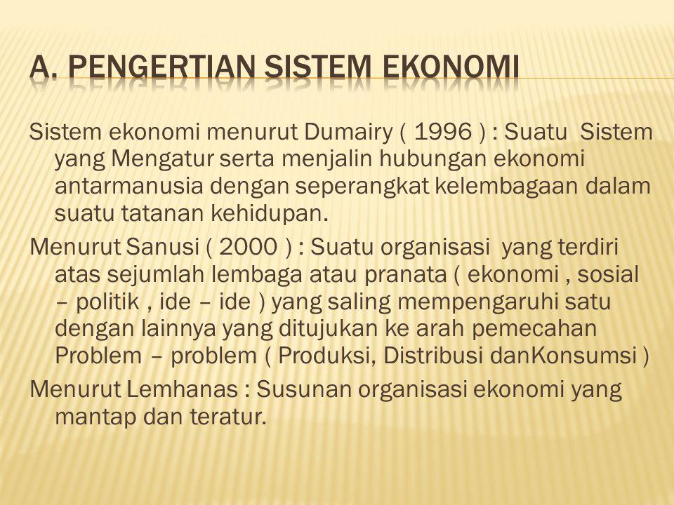 Sistem ekonomi menurut Dumairy ( 1996 ) : Suatu Sistem yang Mengatur serta menjalin hubungan ekonomi antarmanusia dengan seperangkat kelembagaan dalam suatu tatanan kehidupan.