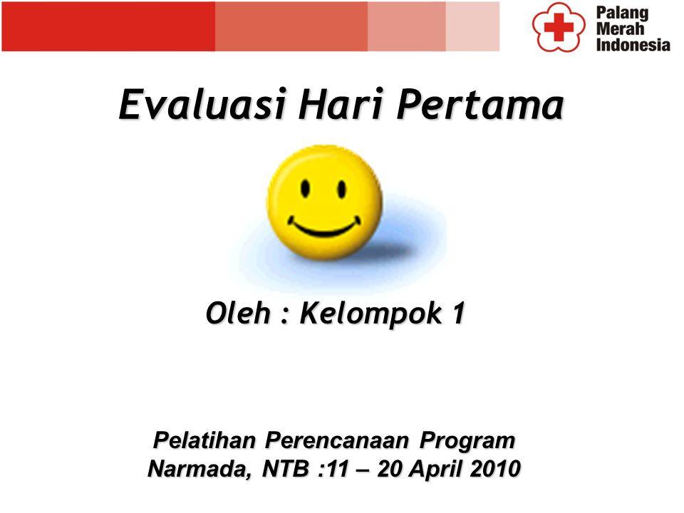 Evaluasi Hari Pertama Oleh : Kelompok 1 Pelatihan Perencanaan Program Narmada, NTB :11 – 20 April 2010