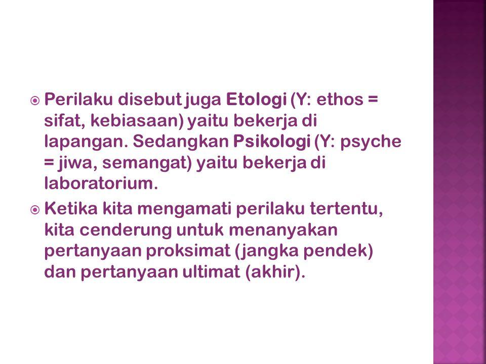  Perilaku disebut juga Etologi (Y: ethos = sifat, kebiasaan) yaitu bekerja di lapangan. Sedangkan Psikologi (Y: psyche = jiwa, semangat) yaitu bekerj