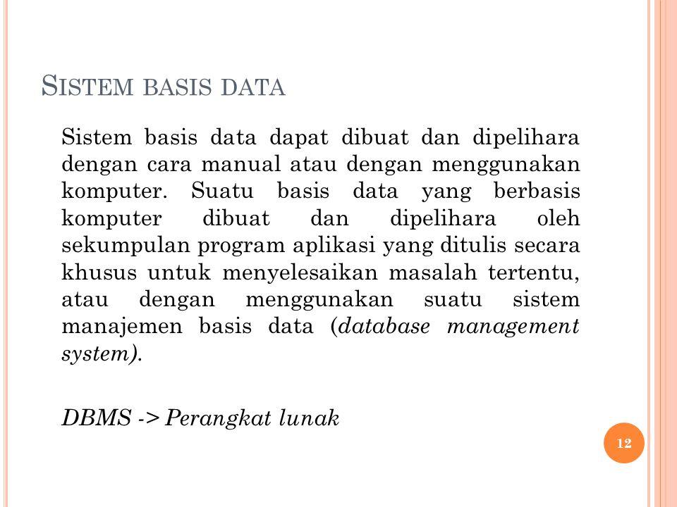 S ISTEM BASIS DATA Sistem basis data dapat dibuat dan dipelihara dengan cara manual atau dengan menggunakan komputer.