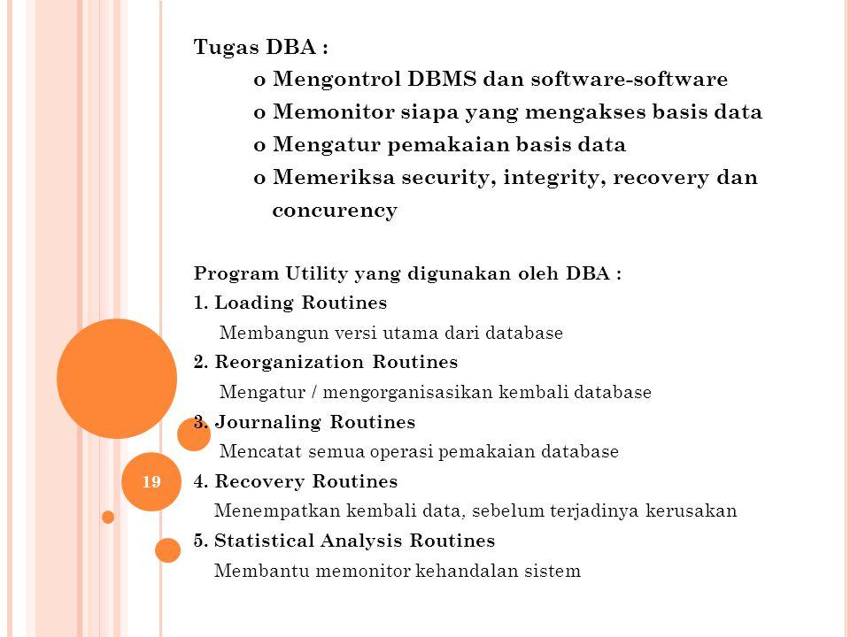 Tugas DBA : o Mengontrol DBMS dan software-software o Memonitor siapa yang mengakses basis data o Mengatur pemakaian basis data o Memeriksa security, integrity, recovery dan concurency Program Utility yang digunakan oleh DBA : 1.