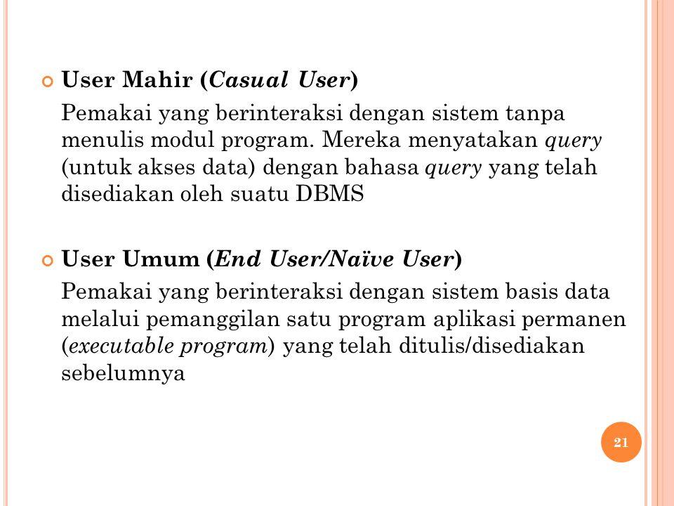 User Mahir ( Casual User ) Pemakai yang berinteraksi dengan sistem tanpa menulis modul program.