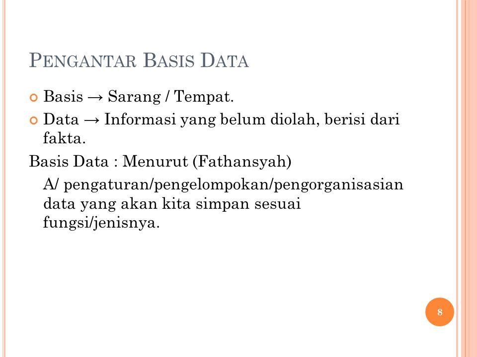 P ENGANTAR B ASIS D ATA Basis → Sarang / Tempat.