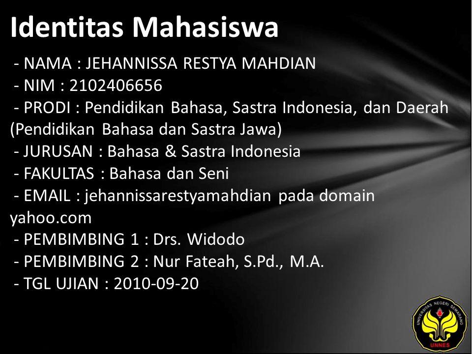 Identitas Mahasiswa - NAMA : JEHANNISSA RESTYA MAHDIAN - NIM : 2102406656 - PRODI : Pendidikan Bahasa, Sastra Indonesia, dan Daerah (Pendidikan Bahasa
