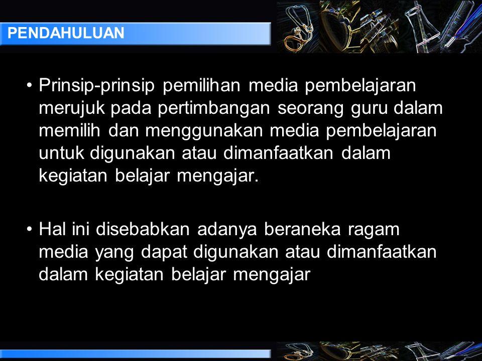 Prinsip-Prinsip Pemilihan Media Pembelajaran By: Ismail Hasan