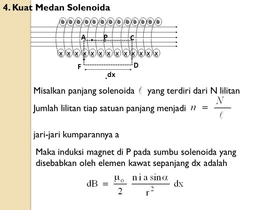 4. Kuat Medan Solenoida XXXXXXXXXXXXX C PA D F dx Misalkan panjang solenoida yang terdiri dari N lilitan Jumlah lilitan tiap satuan panjang menjadi ja