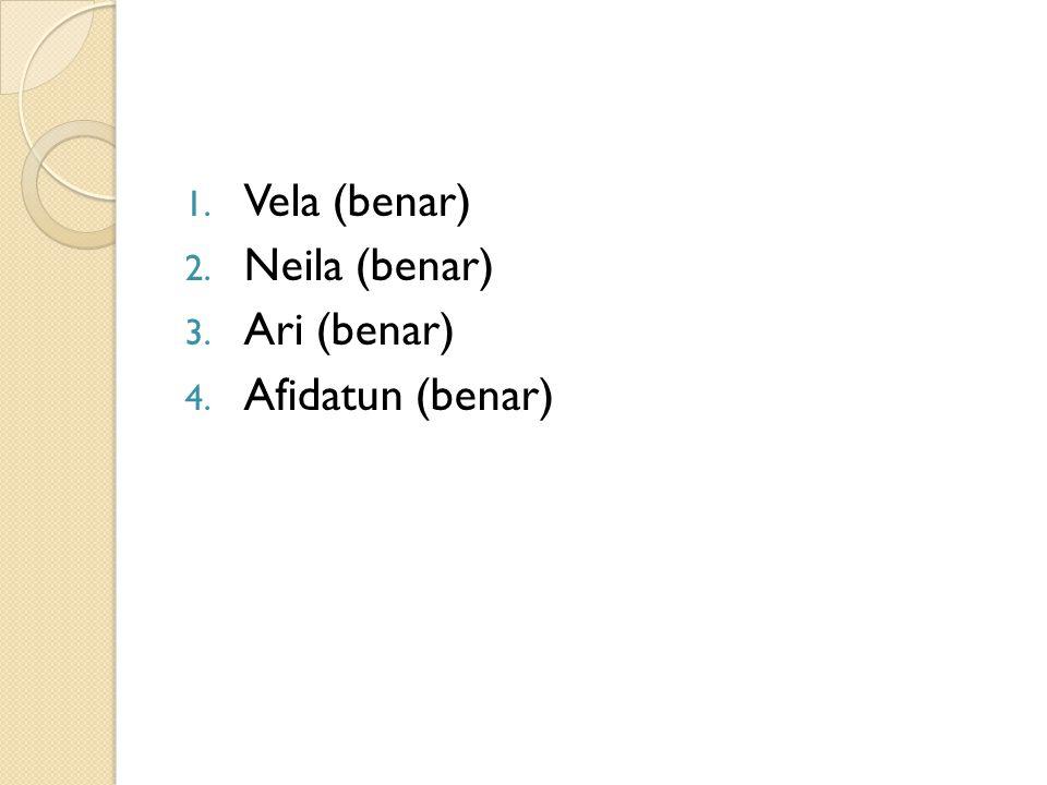 1. Vela (benar) 2. Neila (benar) 3. Ari (benar) 4. Afidatun (benar)