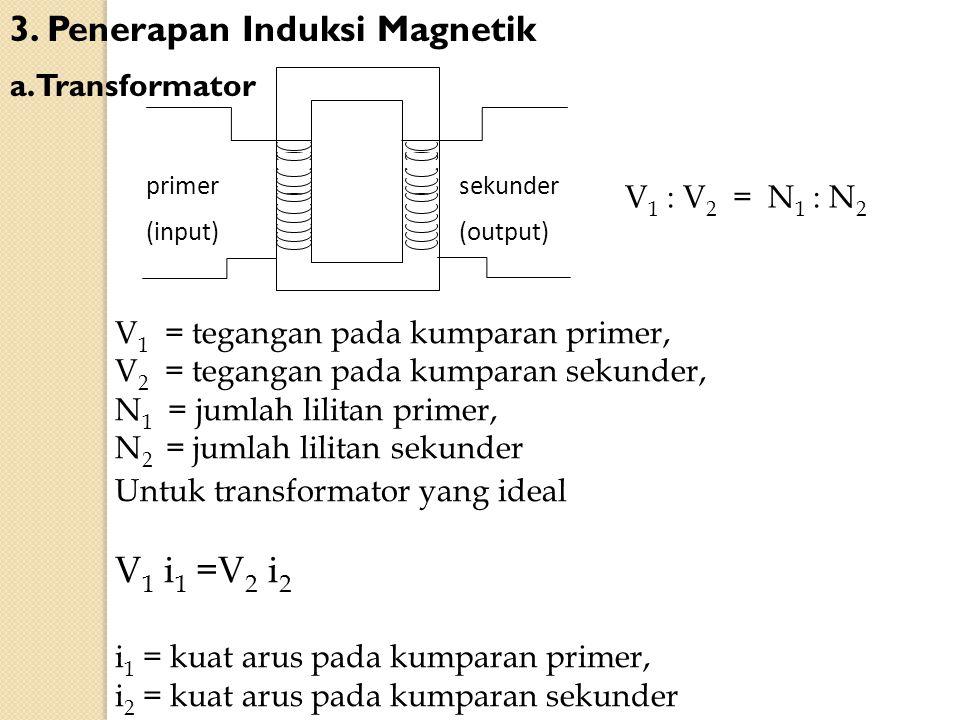 3. Penerapan Induksi Magnetik a. Transformator sekunder (output) primer (input) V 1 = tegangan pada kumparan primer, V 2 = tegangan pada kumparan seku