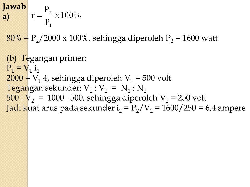 Jawab a) 80% = P 2 /2000 x 100%, sehingga diperoleh P 2 = 1600 watt (b) Tegangan primer: P 1 = V 1 i 1 2000 = V 1 4, sehingga diperoleh V 1 = 500 volt