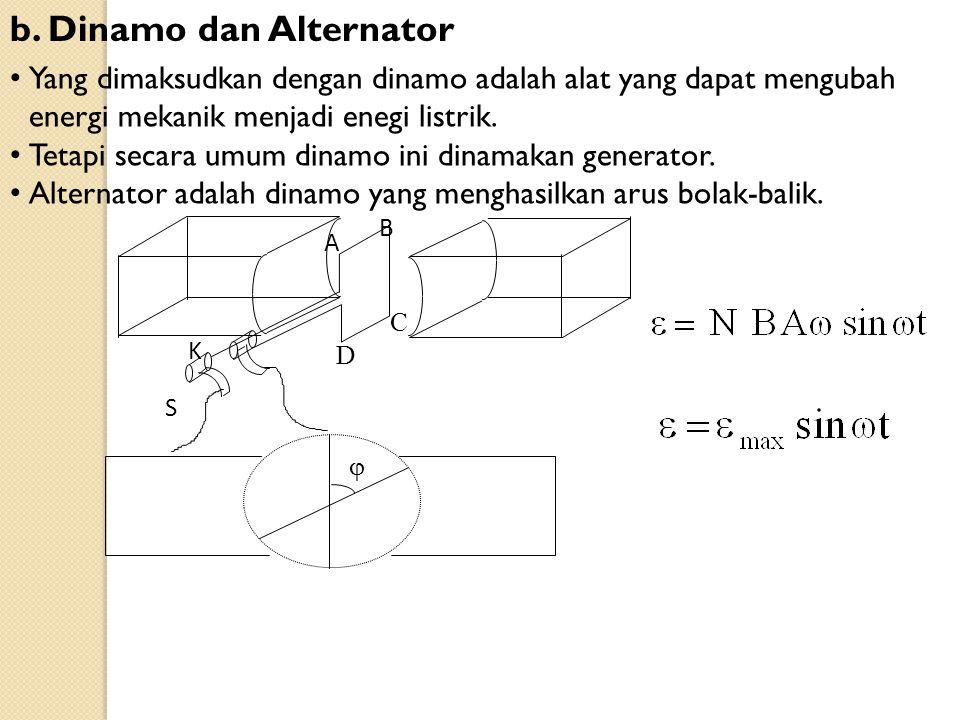 b. Dinamo dan Alternator Yang dimaksudkan dengan dinamo adalah alat yang dapat mengubah energi mekanik menjadi enegi listrik. Tetapi secara umum dinam
