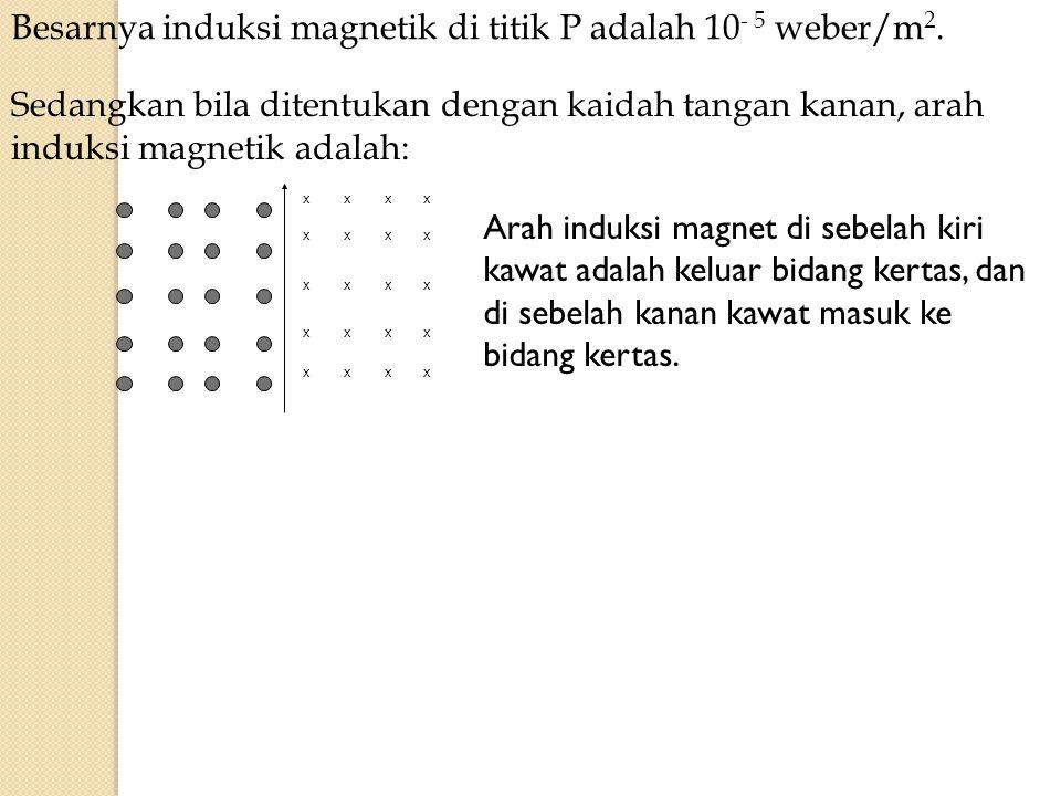 Besarnya induksi magnetik di titik P adalah 10 - 5 weber/m 2. xxxx xxxx xxxx xxxx xxxx Sedangkan bila ditentukan dengan kaidah tangan kanan, arah indu