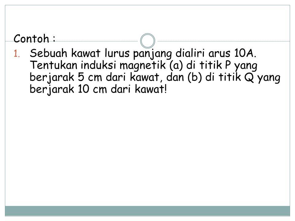 Contoh : 1.Sebuah kawat lurus panjang dialiri arus 10A.