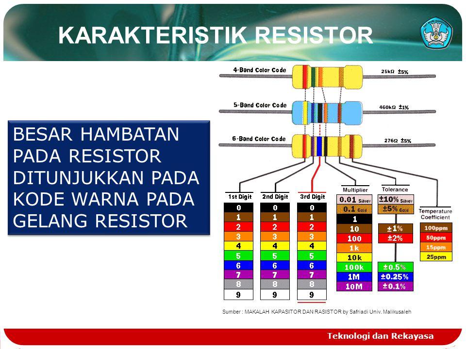 Teknologi dan Rekayasa KARAKTERISTIK RESISTOR BESAR HAMBATAN PADA RESISTOR DITUNJUKKAN PADA KODE WARNA PADA GELANG RESISTOR Sumber : MAKALAH KAPASITOR