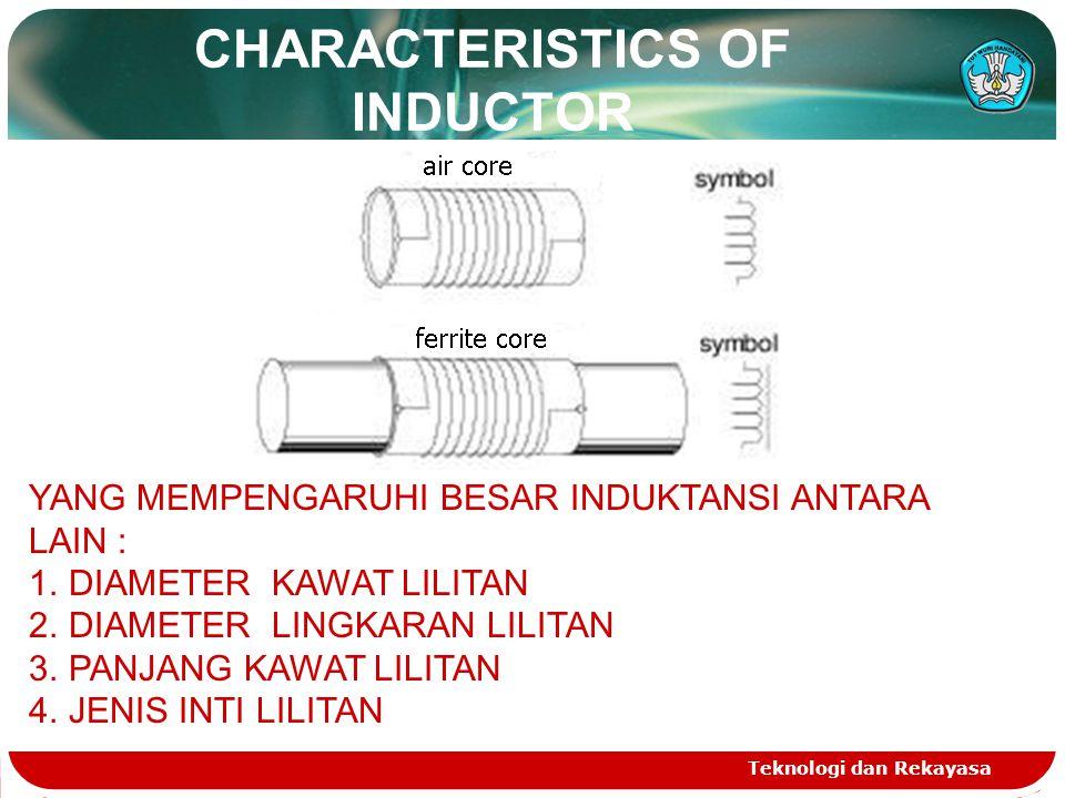 CHARACTERISTICS OF INDUCTOR Teknologi dan Rekayasa YANG MEMPENGARUHI BESAR INDUKTANSI ANTARA LAIN : 1.DIAMETER KAWAT LILITAN 2.DIAMETER LINGKARAN LILI