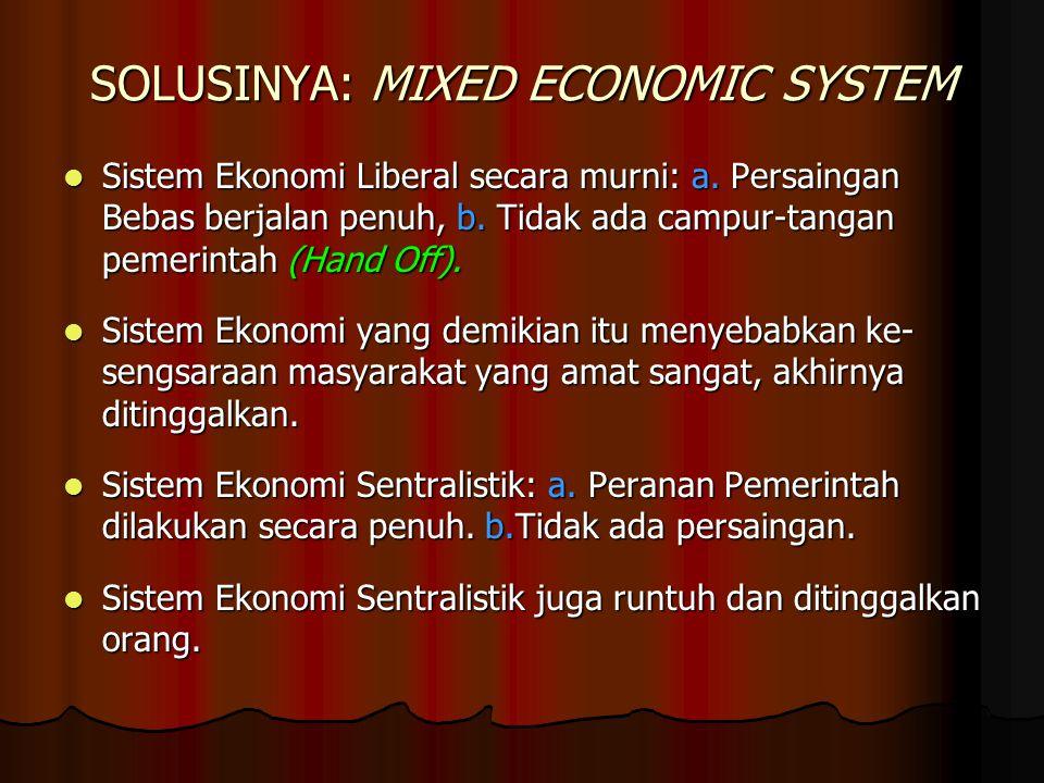 SOLUSINYA: MIXED ECONOMIC SYSTEM Sistem Ekonomi Liberal secara murni: a. Persaingan Bebas berjalan penuh, b. Tidak ada campur-tangan pemerintah (Hand