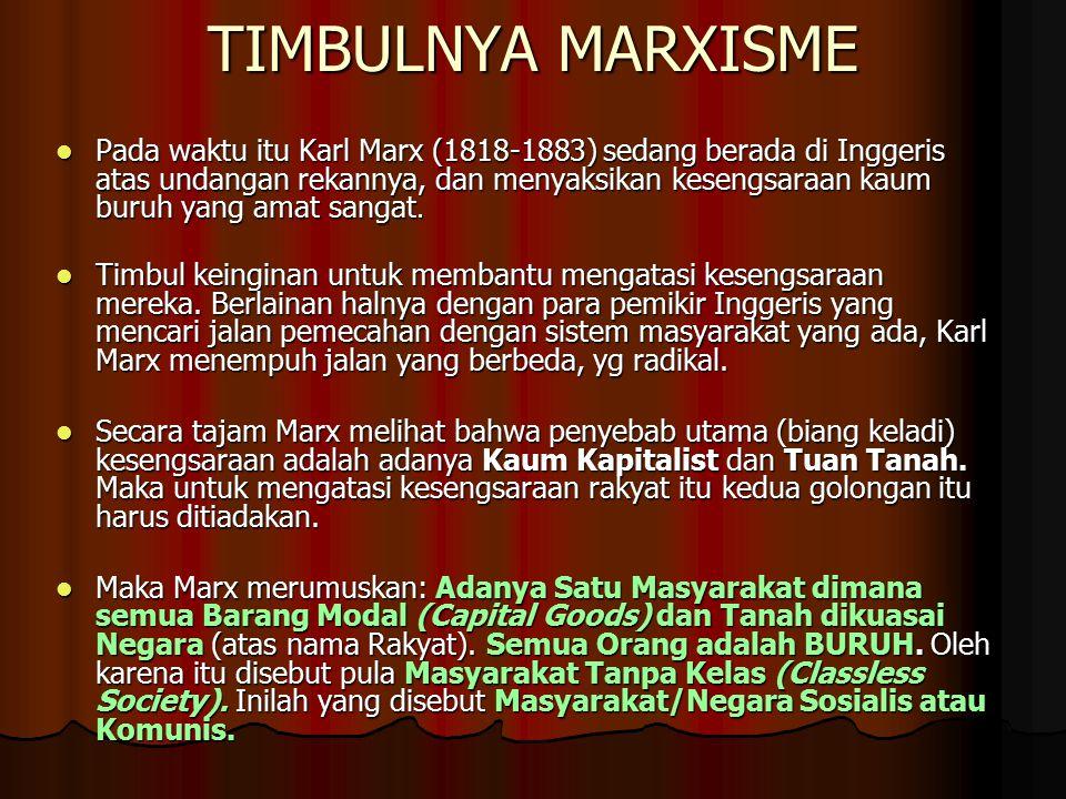 TIMBULNYA MARXISME Pada waktu itu Karl Marx (1818-1883) sedang berada di Inggeris atas undangan rekannya, dan menyaksikan kesengsaraan kaum buruh yang