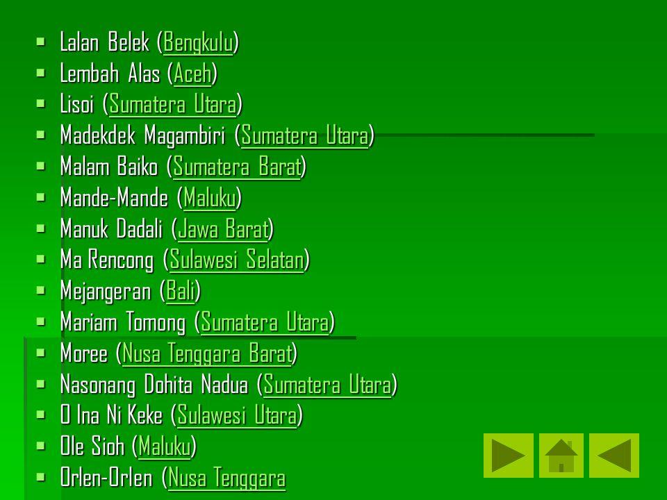 Lalan Belek (Bengkulu) Bengkulu  Lembah Alas (Aceh) Aceh  Lisoi (Sumatera Utara) Sumatera UtaraSumatera Utara  Madekdek Magambiri (Sumatera Utara