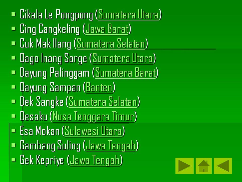  Cikala Le Pongpong (Sumatera Utara) Sumatera UtaraSumatera Utara  Cing Cangkeling (Jawa Barat) Jawa BaratJawa Barat  Cuk Mak Ilang (Sumatera Selat
