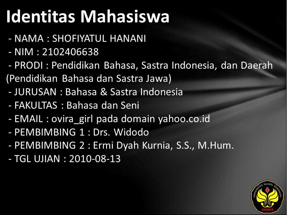 Identitas Mahasiswa - NAMA : SHOFIYATUL HANANI - NIM : 2102406638 - PRODI : Pendidikan Bahasa, Sastra Indonesia, dan Daerah (Pendidikan Bahasa dan Sas