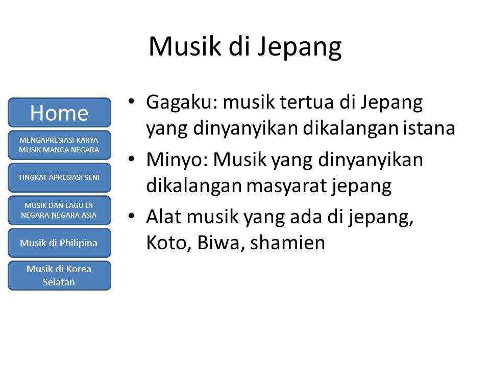 Musik di Jepang Gagaku: musik tertua di Jepang yang dinyanyikan dikalangan istana Minyo: Musik yang dinyanyikan dikalangan masyarat jepang Alat musik yang ada di jepang, Koto, Biwa, shamien MENGAPRESIASI KARYA MUSIK MANCA NEGARA TINGKAT APRESIASI SENI MUSIK DAN LAGU DI NEGARA-NEGARA ASIA Musik di Philipina Musik di Korea Selatan Home