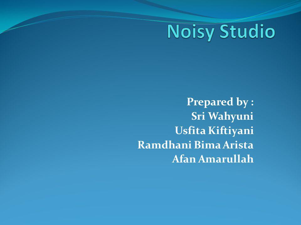 Tujuan : Mengidentifikasi kemudahan dari Noisy studio Menentukan fungsi dari Noisy studio Menjelaskan system ini bekerja Menjelaskan rangkaian jaringan system ini Mengidentifikasi pengguna dari Noisy studio