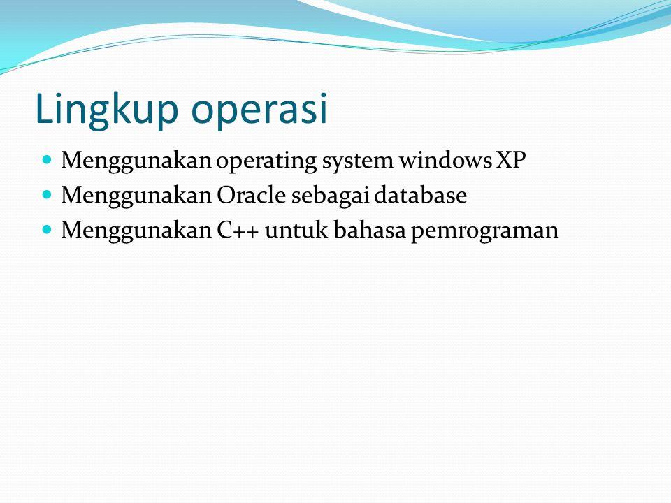 Lingkup operasi Menggunakan operating system windows XP Menggunakan Oracle sebagai database Menggunakan C++ untuk bahasa pemrograman