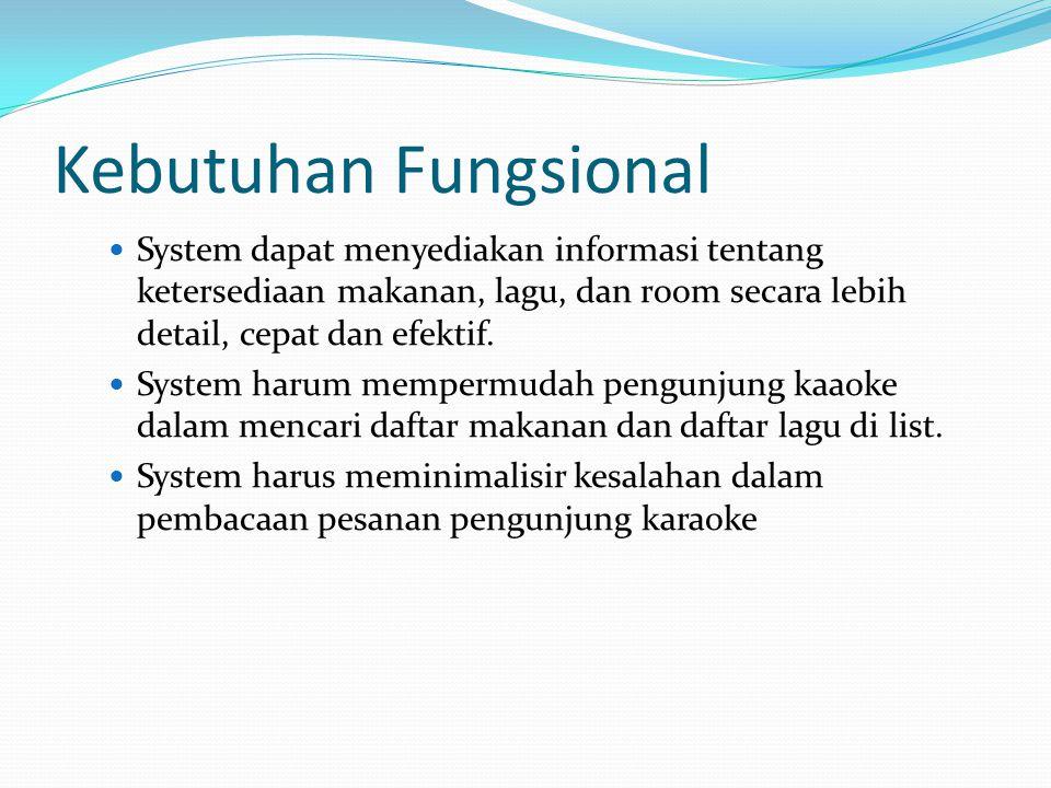Kebutuhan Fungsional System dapat menyediakan informasi tentang ketersediaan makanan, lagu, dan room secara lebih detail, cepat dan efektif. System ha