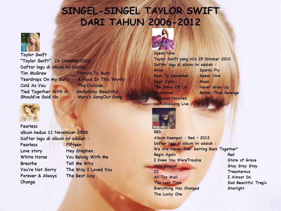 """SINGEL-SINGEL TAYLOR SWIFT DARI TAHUN 2006-2012 Taylor Swift """"Taylor Swift"""" 24 Oktober 2006. Daftar lagu di album ini adalah: Tim McGraw Picture To Bu"""