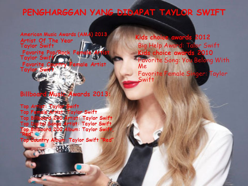 PENGHARGGAN YANG DIDAPAT TAYLOR SWIFT American Music Awards (AMA) 2013. Artist Of The Year Taylor Swift Favorite Pop/Rock Female Artist Taylor Swift F
