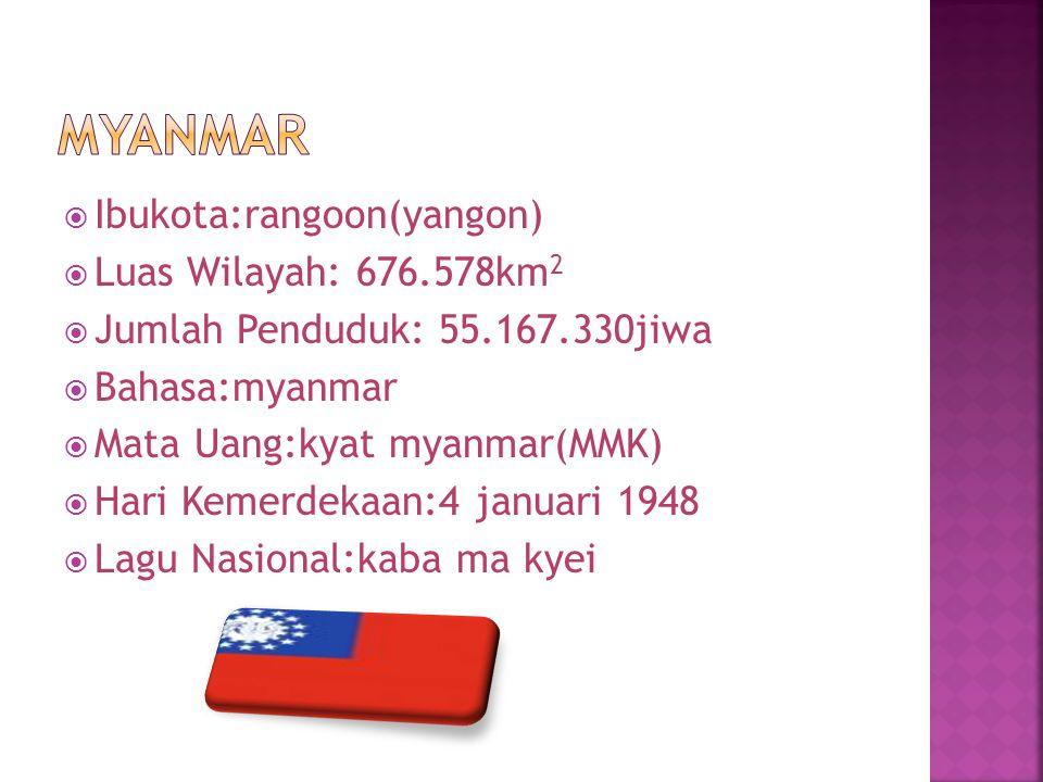  Ibukota:rangoon(yangon)  Luas Wilayah: 676.578km 2  Jumlah Penduduk: 55.167.330jiwa  Bahasa:myanmar  Mata Uang:kyat myanmar(MMK)  Hari Kemerdek