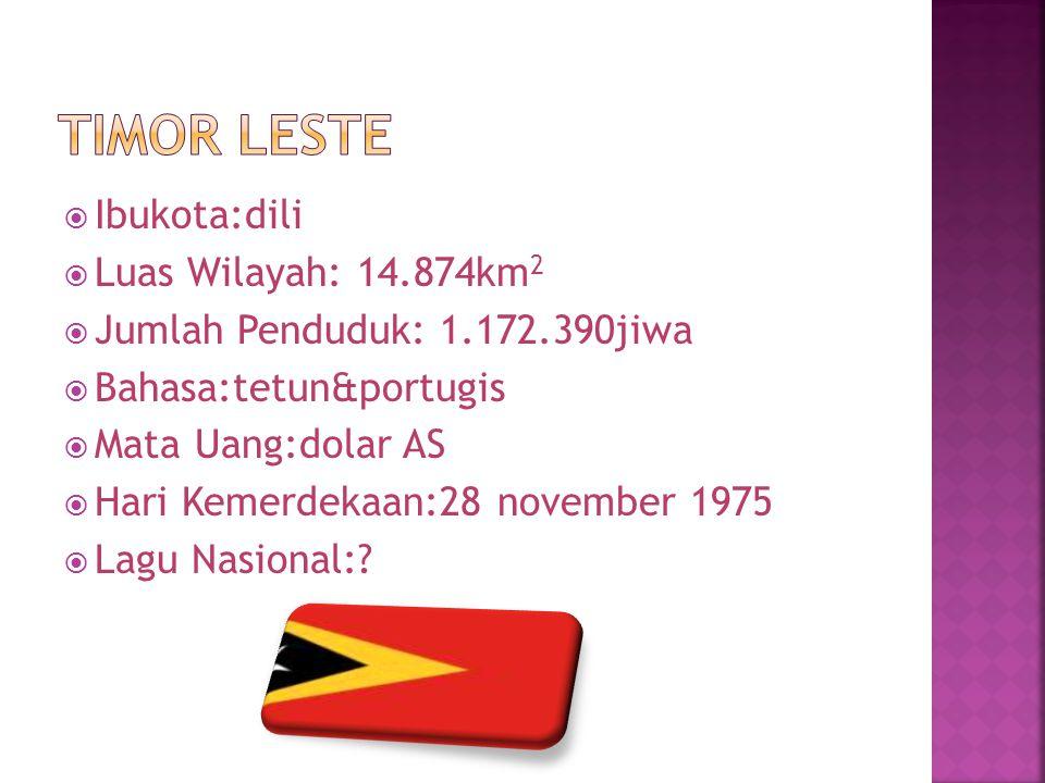  Ibukota:dili  Luas Wilayah: 14.874km 2  Jumlah Penduduk: 1.172.390jiwa  Bahasa:tetun&portugis  Mata Uang:dolar AS  Hari Kemerdekaan:28 november