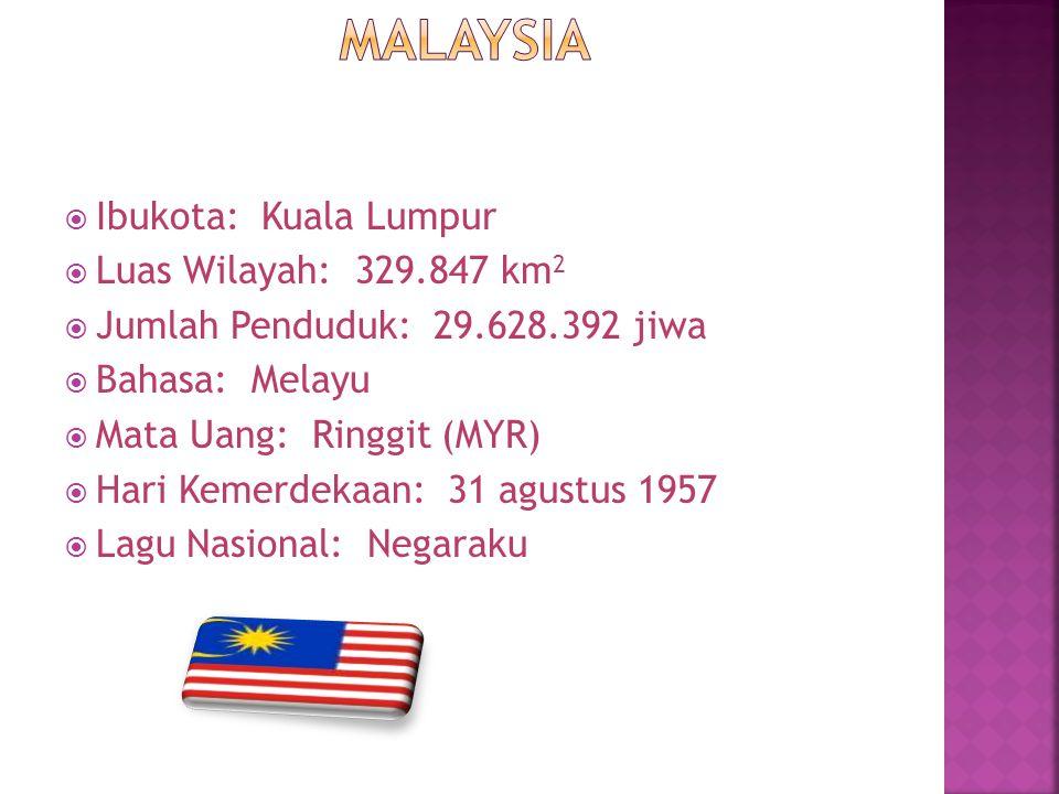  Ibukota: Kuala Lumpur  Luas Wilayah: 329.847 km 2  Jumlah Penduduk: 29.628.392 jiwa  Bahasa: Melayu  Mata Uang: Ringgit (MYR)  Hari Kemerdekaan