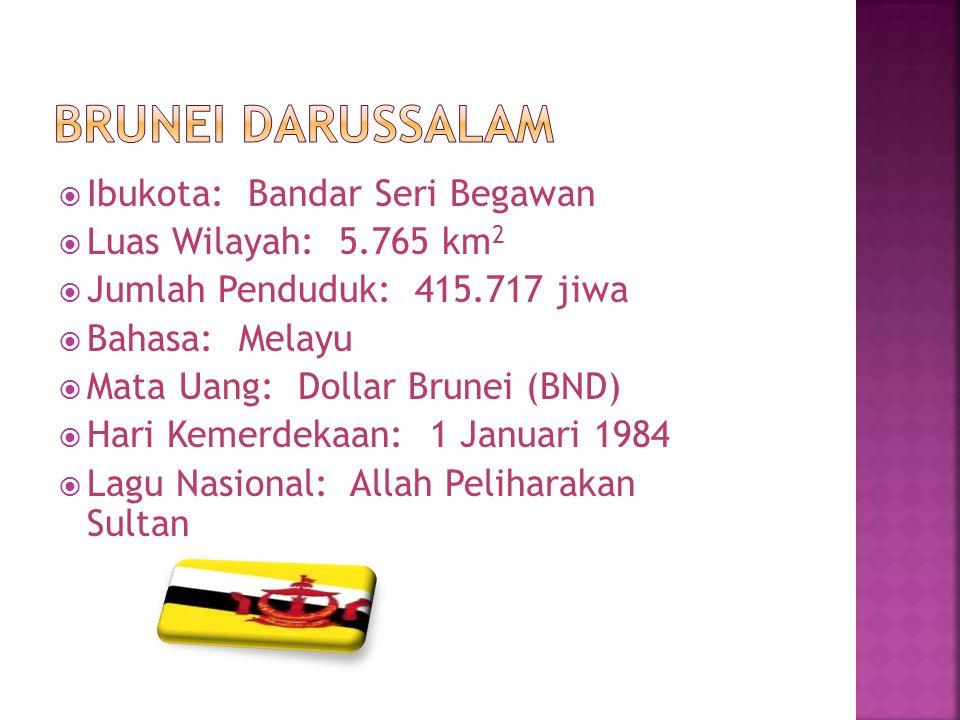  Ibukota: Bandar Seri Begawan  Luas Wilayah: 5.765 km 2  Jumlah Penduduk: 415.717 jiwa  Bahasa: Melayu  Mata Uang: Dollar Brunei (BND)  Hari Kem