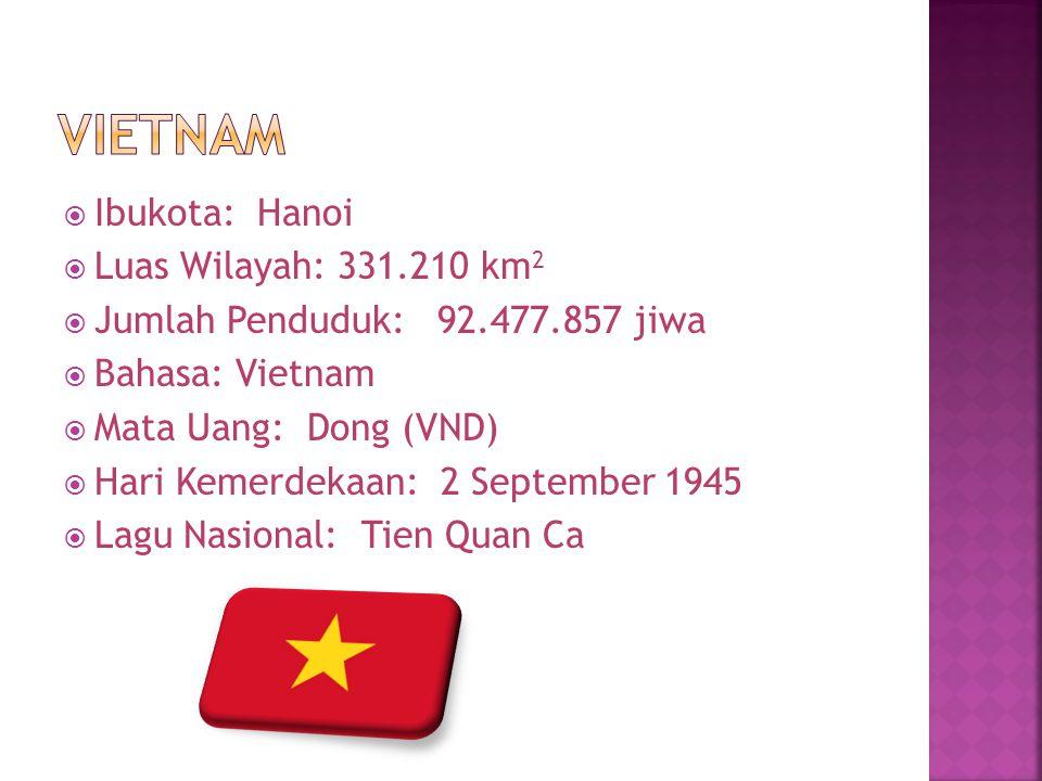  Ibukota: Hanoi  Luas Wilayah: 331.210 km 2  Jumlah Penduduk: 92.477.857 jiwa  Bahasa: Vietnam  Mata Uang: Dong (VND)  Hari Kemerdekaan: 2 Septe