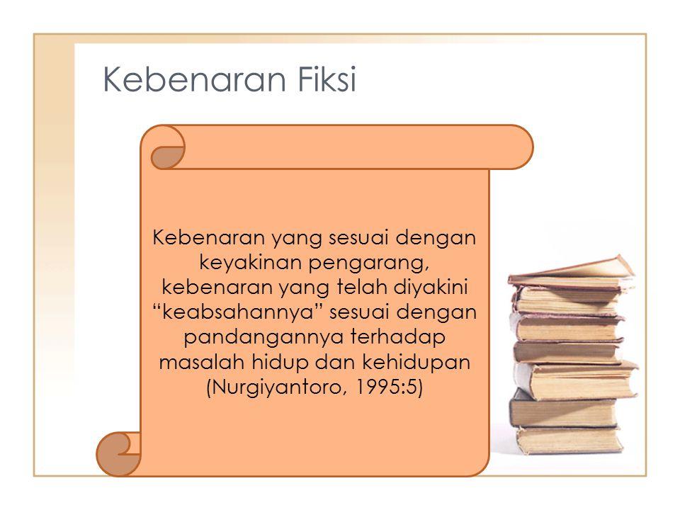 Kebenaran Fiksi Kebenaran yang sesuai dengan keyakinan pengarang, kebenaran yang telah diyakini keabsahannya sesuai dengan pandangannya terhadap masalah hidup dan kehidupan (Nurgiyantoro, 1995:5)