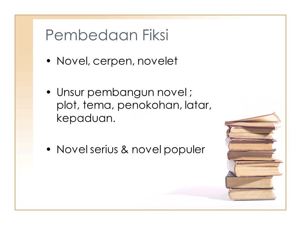 Pembedaan Fiksi Novel, cerpen, novelet Unsur pembangun novel ; plot, tema, penokohan, latar, kepaduan.