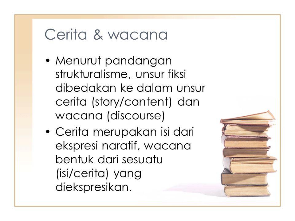 Cerita & wacana Menurut pandangan strukturalisme, unsur fiksi dibedakan ke dalam unsur cerita (story/content) dan wacana (discourse) Cerita merupakan isi dari ekspresi naratif, wacana bentuk dari sesuatu (isi/cerita) yang diekspresikan.