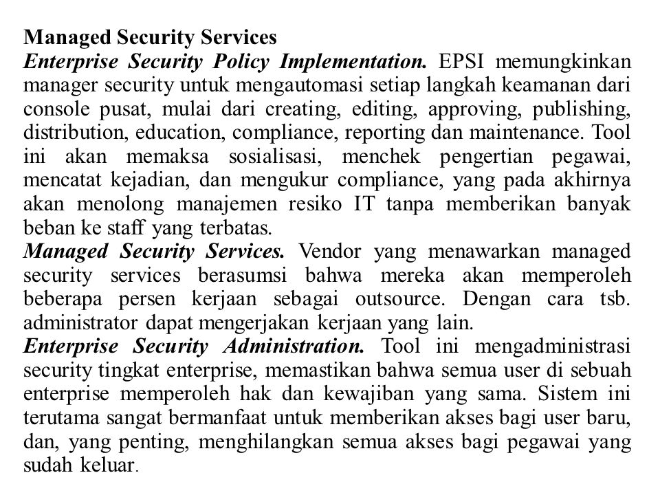 Managed Security Services Enterprise Security Policy Implementation.