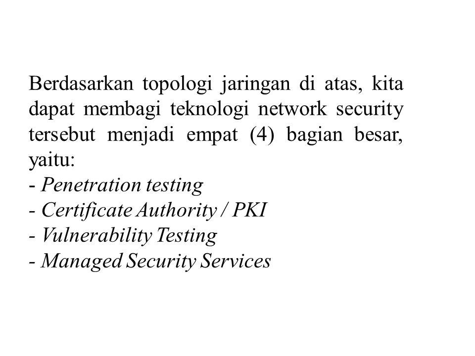 Berdasarkan topologi jaringan di atas, kita dapat membagi teknologi network security tersebut menjadi empat (4) bagian besar, yaitu: - Penetration tes