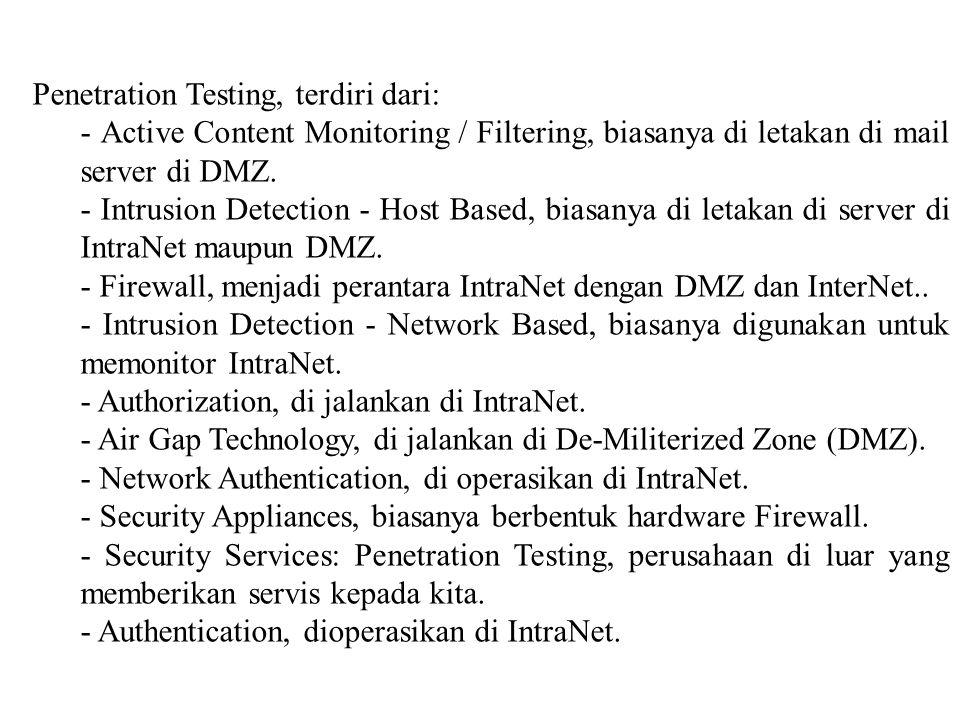 Penetration Testing, terdiri dari: - Active Content Monitoring / Filtering, biasanya di letakan di mail server di DMZ. - Intrusion Detection - Host Ba