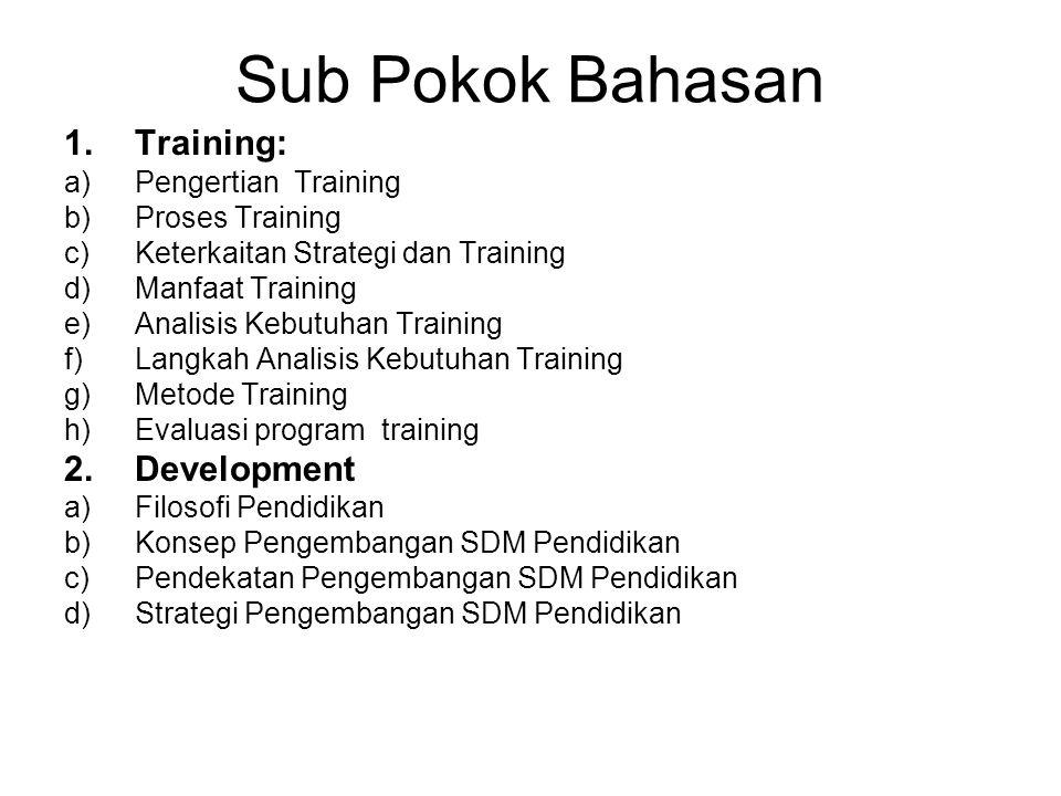 Sub Pokok Bahasan 1.Training: a)Pengertian Training b)Proses Training c)Keterkaitan Strategi dan Training d)Manfaat Training e)Analisis Kebutuhan Trai