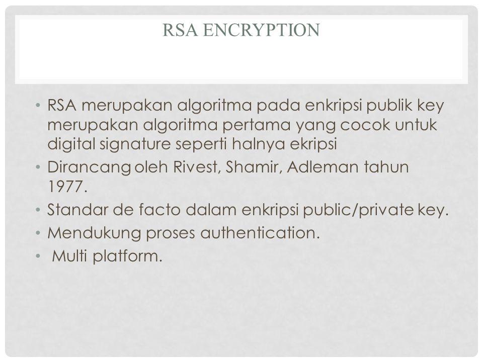 RSA ENCRYPTION RSA merupakan algoritma pada enkripsi publik key merupakan algoritma pertama yang cocok untuk digital signature seperti halnya ekripsi Dirancang oleh Rivest, Shamir, Adleman tahun 1977.