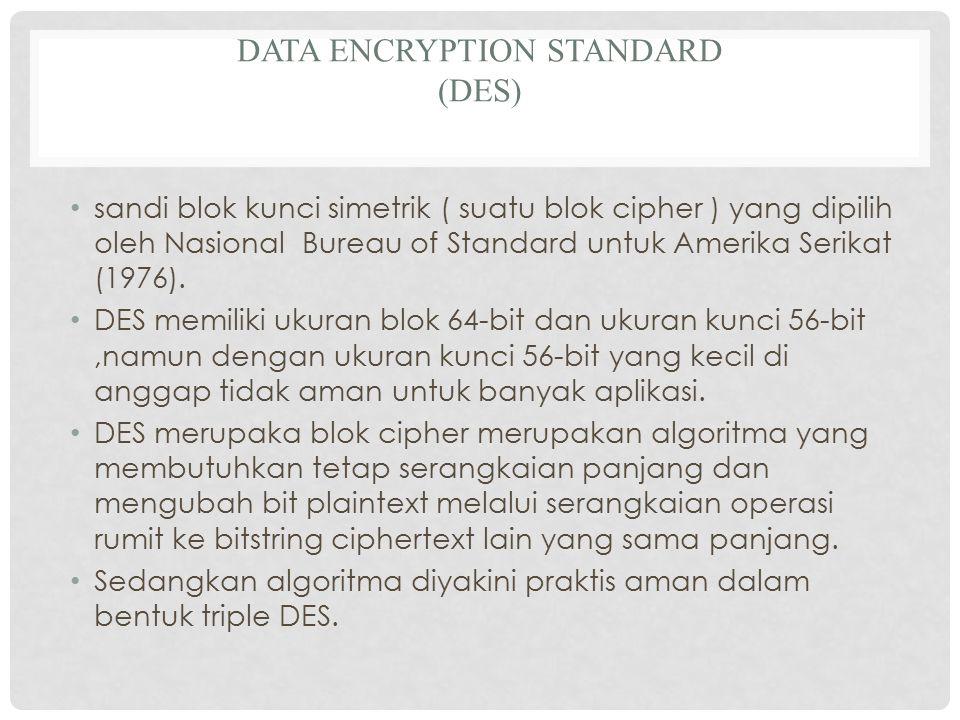 DATA ENCRYPTION STANDARD (DES) sandi blok kunci simetrik ( suatu blok cipher ) yang dipilih oleh Nasional Bureau of Standard untuk Amerika Serikat (1976).