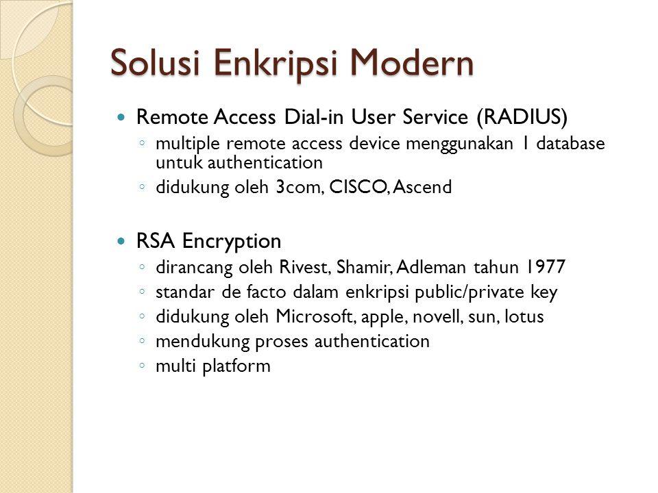 Solusi Enkripsi Modern Remote Access Dial-in User Service (RADIUS) ◦ multiple remote access device menggunakan 1 database untuk authentication ◦ diduk