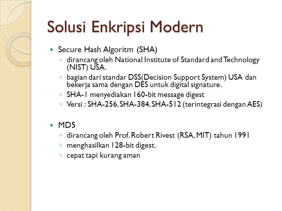 Solusi Enkripsi Modern Secure Hash Algoritm (SHA) ◦ dirancang oleh National Institute of Standard and Technology (NIST) USA. ◦ bagian dari standar DSS