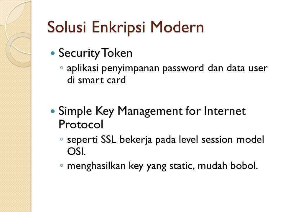 Solusi Enkripsi Modern Security Token ◦ aplikasi penyimpanan password dan data user di smart card Simple Key Management for Internet Protocol ◦ sepert