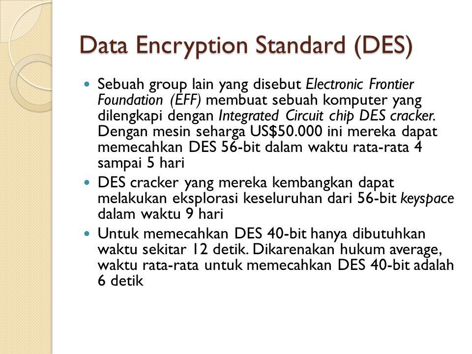 Data Encryption Standard (DES) Sebuah group lain yang disebut Electronic Frontier Foundation (EFF) membuat sebuah komputer yang dilengkapi dengan Inte
