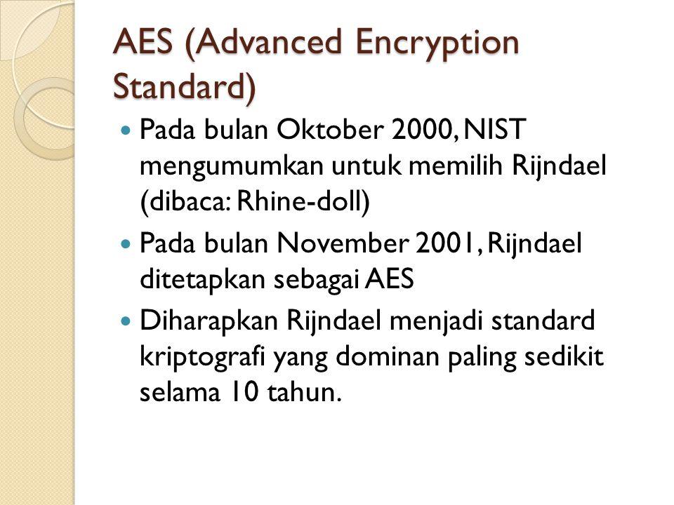 AES (Advanced Encryption Standard) Pada bulan Oktober 2000, NIST mengumumkan untuk memilih Rijndael (dibaca: Rhine-doll) Pada bulan November 2001, Rij