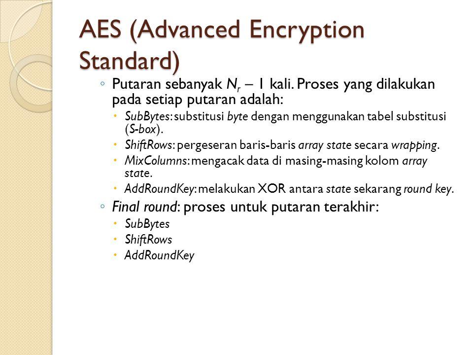 AES (Advanced Encryption Standard) ◦ Putaran sebanyak N r – 1 kali. Proses yang dilakukan pada setiap putaran adalah:  SubBytes: substitusi byte deng